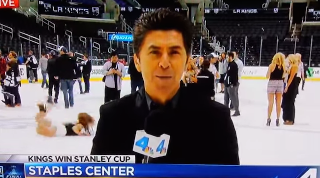 A high-heeled LA Kings fan face planted on ice after the Stanley Cup Finals, and Channel 4 news was there.
