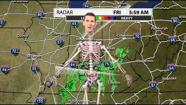 A local weatherman was a skeleton this morning.
