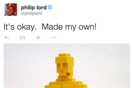 The director of The LEGO Movie nailed his response to being snubbed by the Oscars.