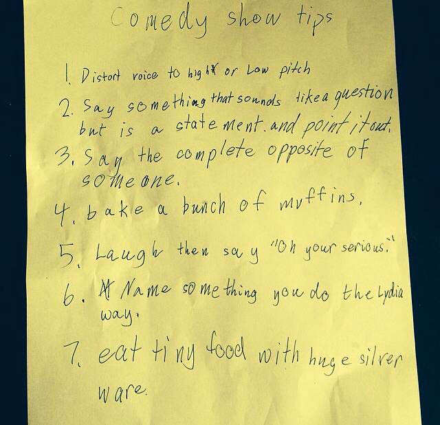 A seven-year-old girl wrote down her tips for stand-up comedy, and they are pure gold.