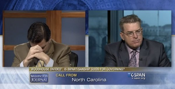 This mom called in to C-SPAN to tell her pundit sons to quit arguing so much.