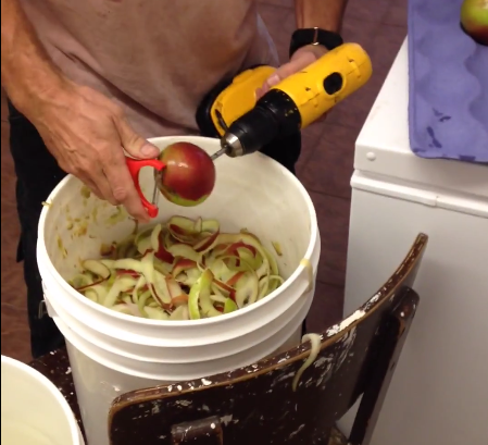 How to peel apples the old-fashioned way — with a power drill.
