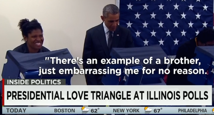 Jealous man tells Obama to keep his hands off his girlfriend.