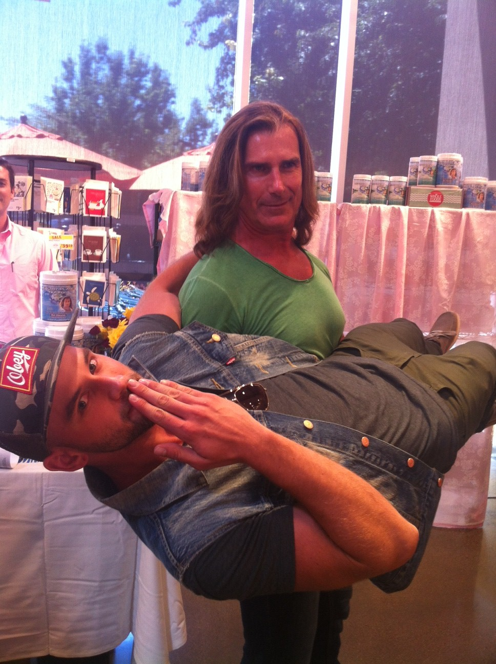 If you ever meet Fabio in real life, he will totally let you do this to him.
