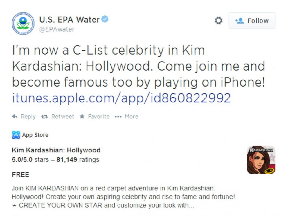 The EPA accidentally spammed all of Twitter because they were playing the new Kim Kardashian game.