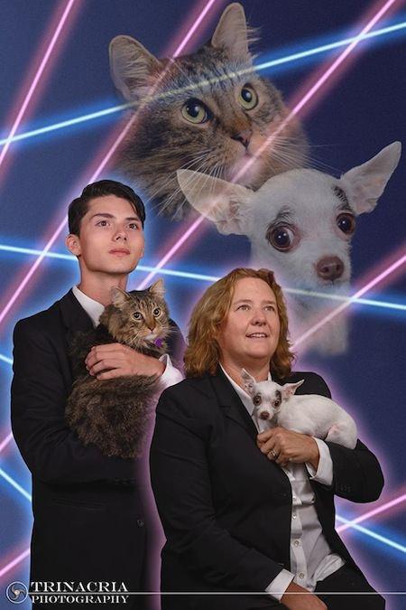 Principal reaches laser-filled compromise with student who wanted his cat in his yearbook photo.