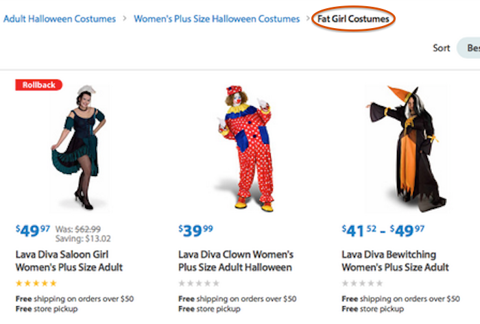 """Walmart created a plus-sized amount of outrage with their """"fat girl costumes"""" for Halloween."""