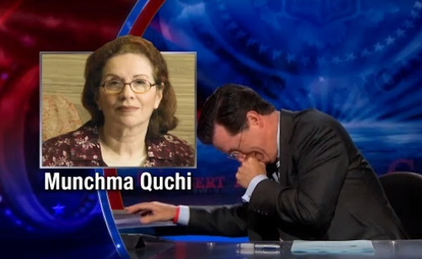 """In honor of tonight's final """"Colbert Report,"""" here's Colbert breaking down laughing over and over again."""