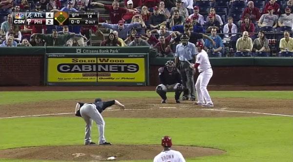 Jerky Phillies fans mock a Braves pitcher's goofy stance.