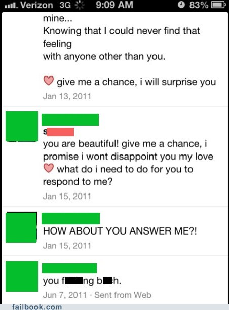 A collection of people who are REALLY bad at trying to have sex with their Facebook friends.