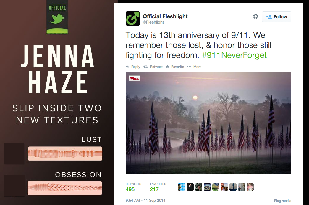 The weirdest brand imaginable tried to commemorate 9/11 today.