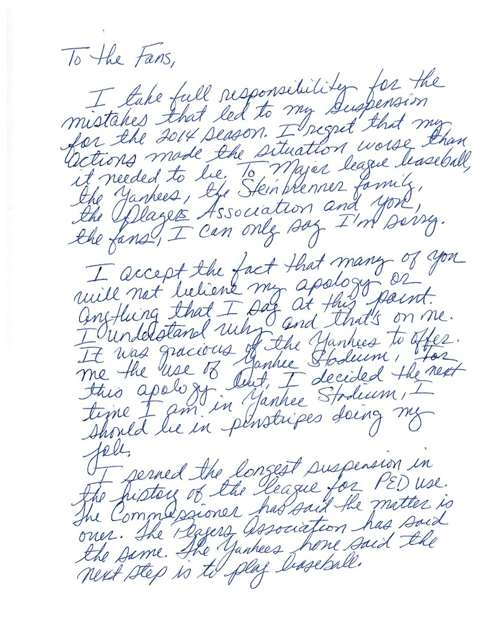 A-Rod hand-wrote an apology to fans because his roided-up fingers are too bloated to type.