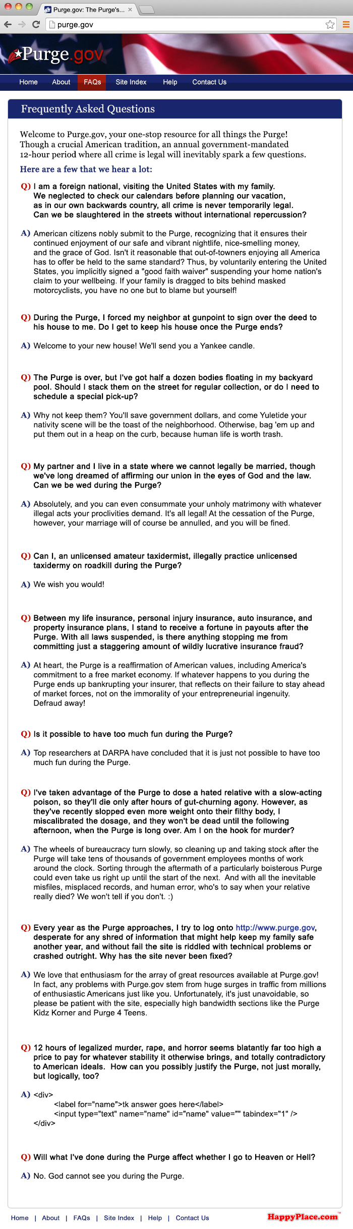 The Purge: FAQ