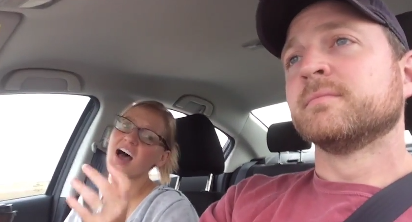 """This guy is really regretting giving his wife the """"Pitch Perfect"""" soundtrack for their road trip."""