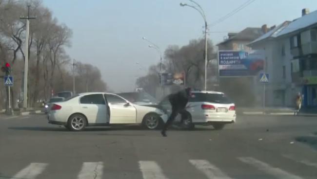 Dash cam captures the rarely seen literal hit and run car crash.