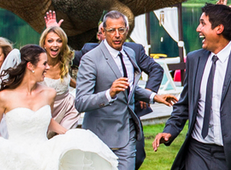 "The ""running away from a T-Rex"" wedding photo meme can die happy now that Jeff Goldblum has done it."