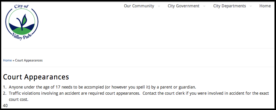 The city of Valley Park is surprisingly casual about court appearances.
