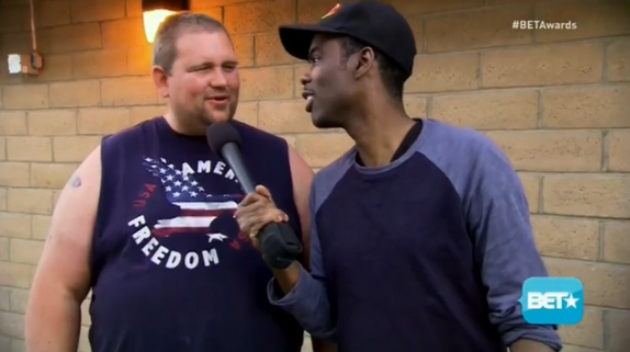 Chris Rock quizzes white monster truck fans about the BET Awards.