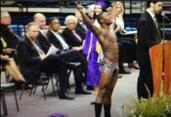 A high school senior won't be getting his diploma after stripping on stage during his graduation ceremony.
