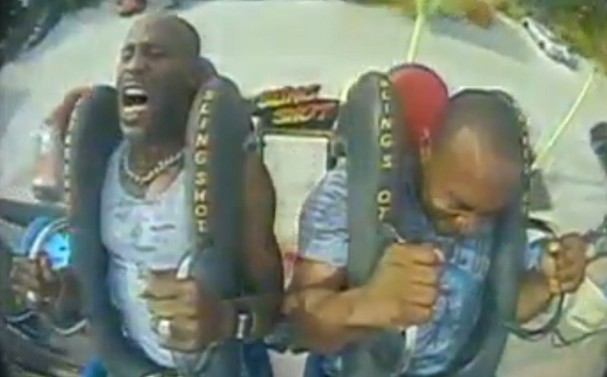 Amusement park ride makes DMX lose his mind up in here, up in here.