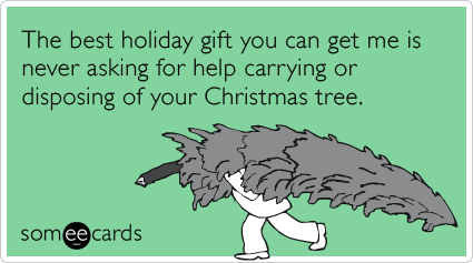 The best holiday gift you can get me is never asking for help carrying or disposing of your Christmas tree.