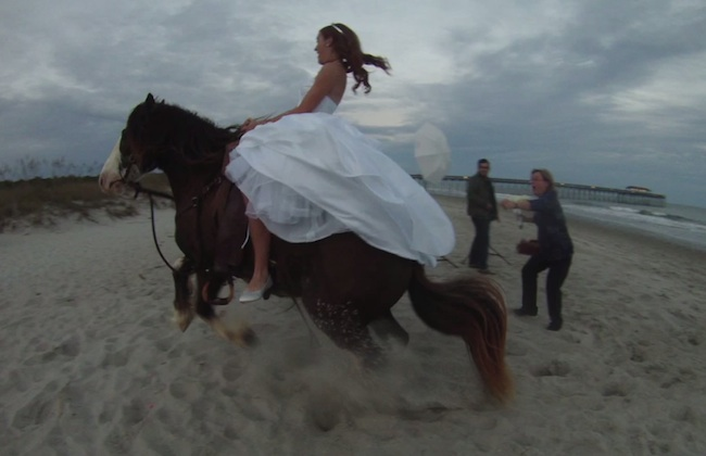This bride's photo shoot on a horse ended with her being bucked onto the beach.