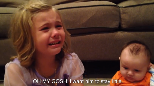 5-year-old girl is inconsolably sad that her younger brother won't be a baby forever.