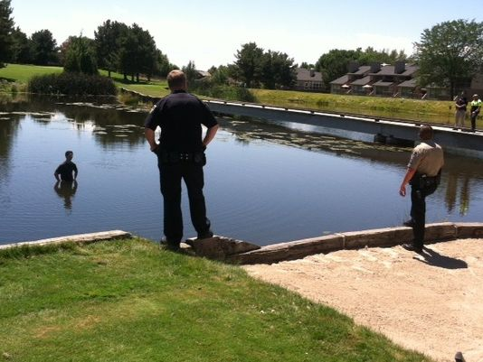 A guy jumps into the middle of a golf course pond to evade the cops, a stupid-looking standoff ensues.