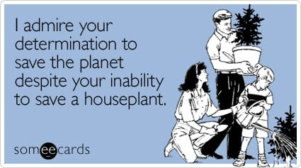 I admire your determination to save the planet despite your inability to save a houseplant