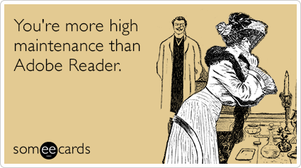 You're more high maintenance than Adobe Reader.