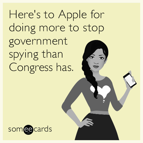 Here's to Apple for doing more to stop government spying than Congress has.