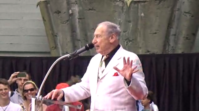 Mel Brooks makes 11-finger handprints outside the Chinese Theater in Hollywood.