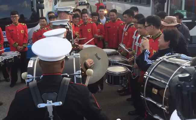 An awesome drum battle broke out between the U.S. Marine Band and the Republic of Korea Army Band.