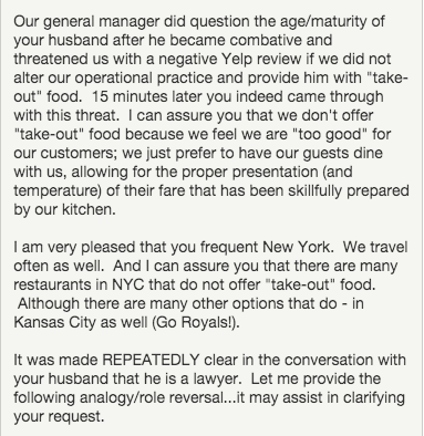 Restaurant owner gives perfect response to ridiculous complaint on Yelp.