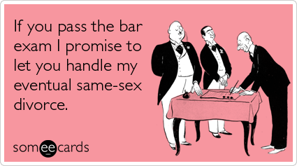 If you pass the bar exam I promise to let you handle my eventual same-sex divorce