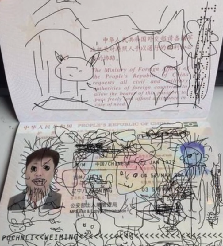 This kid drew all over his dad's passports when his dad wasn't looking. Now they're trapped in South Korea.