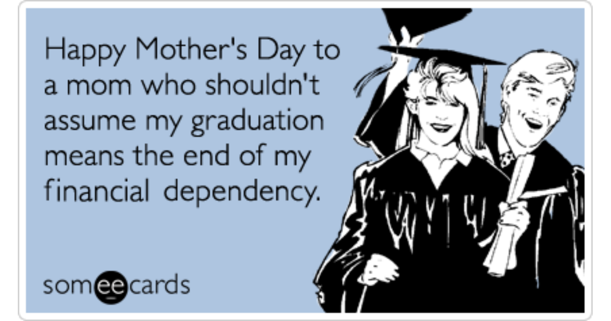 College Graduation Money Finance Mothers Day Funny Ecard Mothers