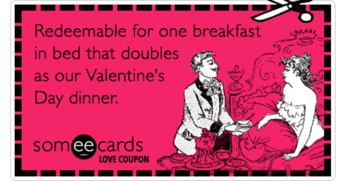 Love Coupon Breakfast In Bed Couple Dinner Valentines Day