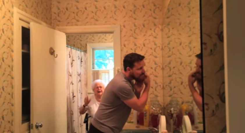 A guy promised his grandma he'd shave his beard on her 100th birthday. He delivered, and she loved it.