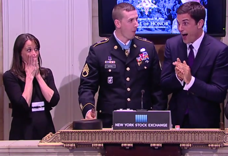 Soldier who was awarded the Medal of Honor rings the Stock Exchange closing bell, accidentally smashes gavel into pieces.