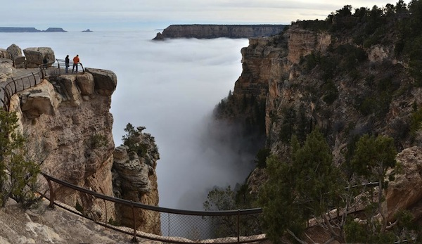 The Grand Canyon got filled with clouds yesterday because nature is magical and stuff.