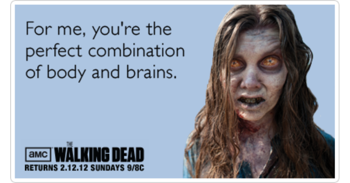 Flirting Zombies Walking Dead Sex Valentines Day Funny Ecard | The Walking  Dead Ecard