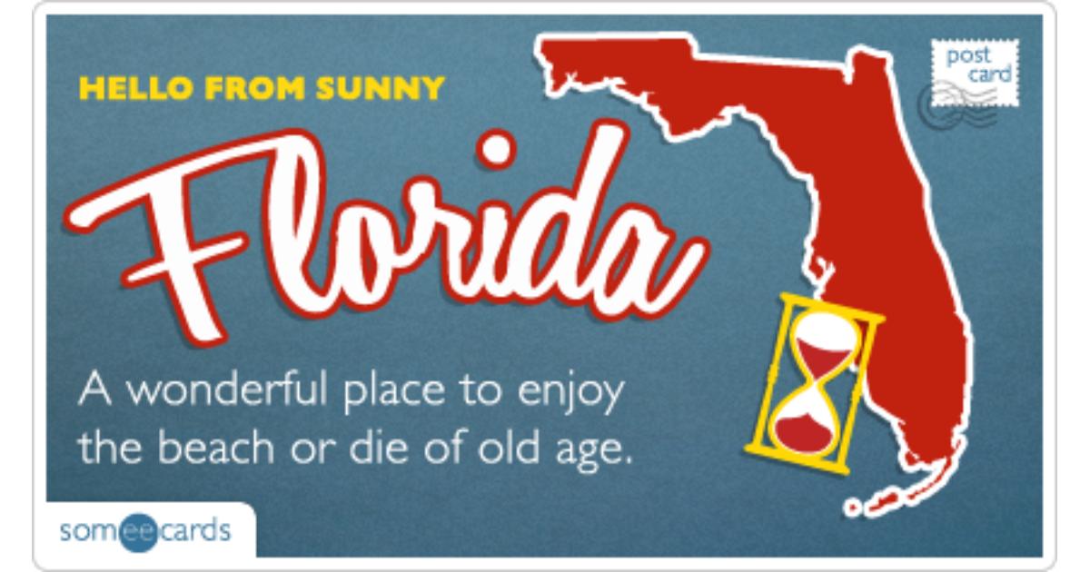 Florida Old Age Postcard Funny Ecard | U.S. Ecard