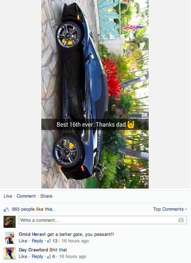 The most infuriating examples of rich spoiled brats on Facebook.