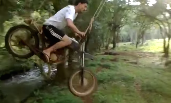 This motorcycle swing puts every stupid idea you've ever had to shame.