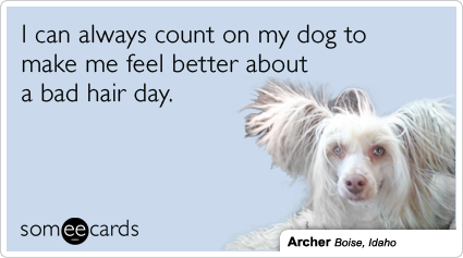I can always count on my dog to make me feel better about a bad hair day.