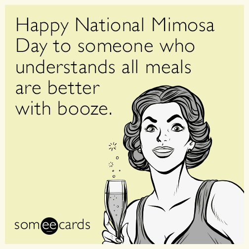 Happy National Mimosa Day to someone who understands all meals are better with booze.