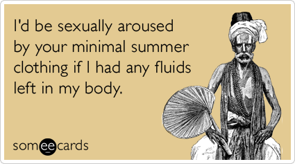 someecards.com - I'd be sexually aroused by your minimal summer clothing if I had any fluids left in my body.