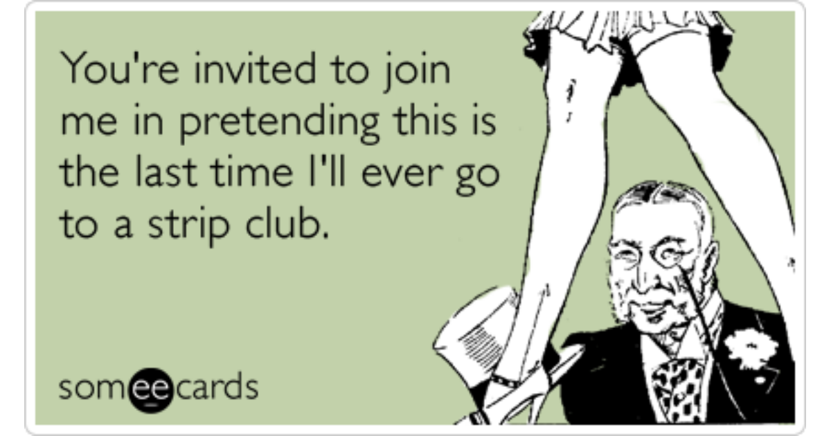 Honest Bachelor Party Invite Strip Club Funny Ecard | Weddings Ecard