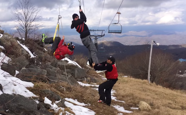 A snowboarder was rescued from a stuck ski lift and things got unexpectedly extreme.